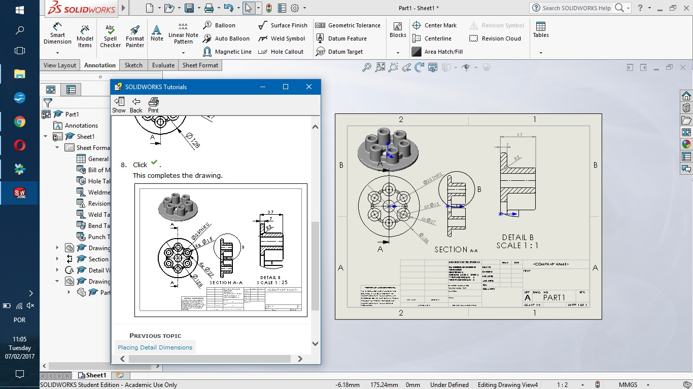 Solidworks01g tutorial one it follows the design of a piece in 3d and its 2d related scketch 2d view ports from a 3d model the step by step procedure was available baditri Image collections