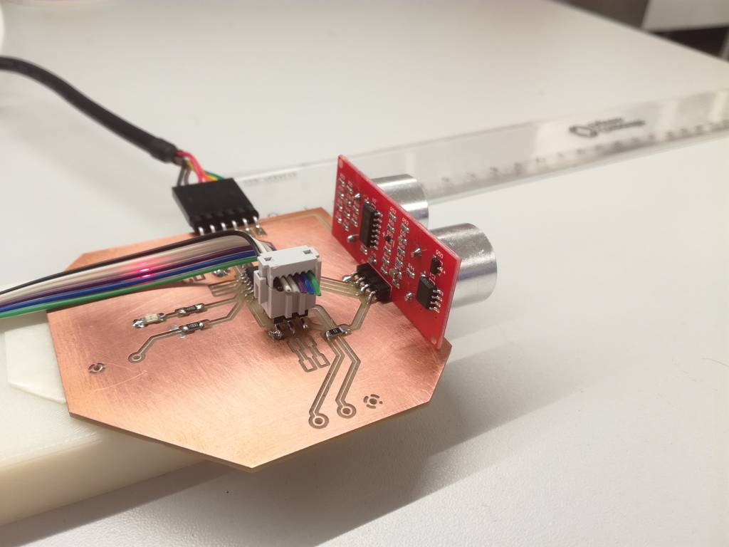 Fab Academy 2017 Ivan Sanchez Milara Interfacing Ultrasonic Sensors With Pic Microcontroller During This Week I Have Fabricated A Simple Board Which Is Able To Read Data From Sensor Module