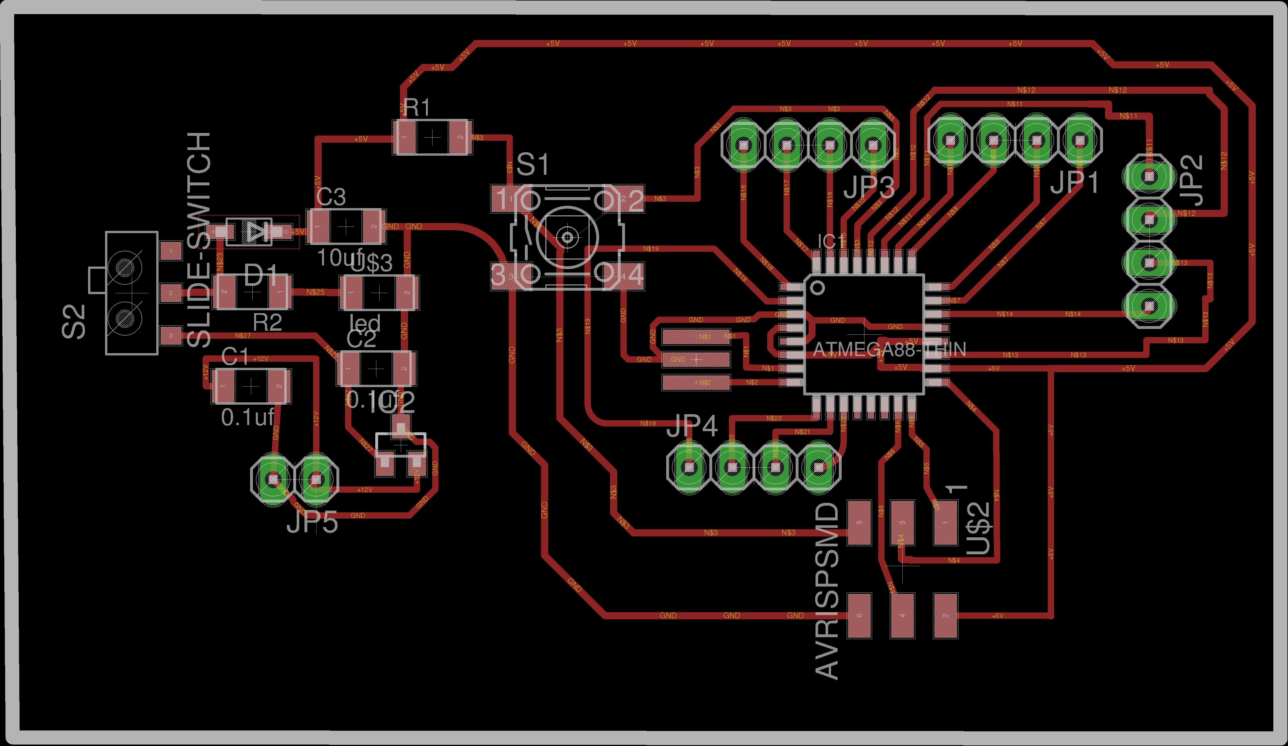 Week 13 Avr Atmega16 Watchdog Timer Tutorial Circuit This Is For The First Time I Manually Routed My Board Traces Of Near Atmega 328 Pin Are Made 14 Mil Instead 16 In Order