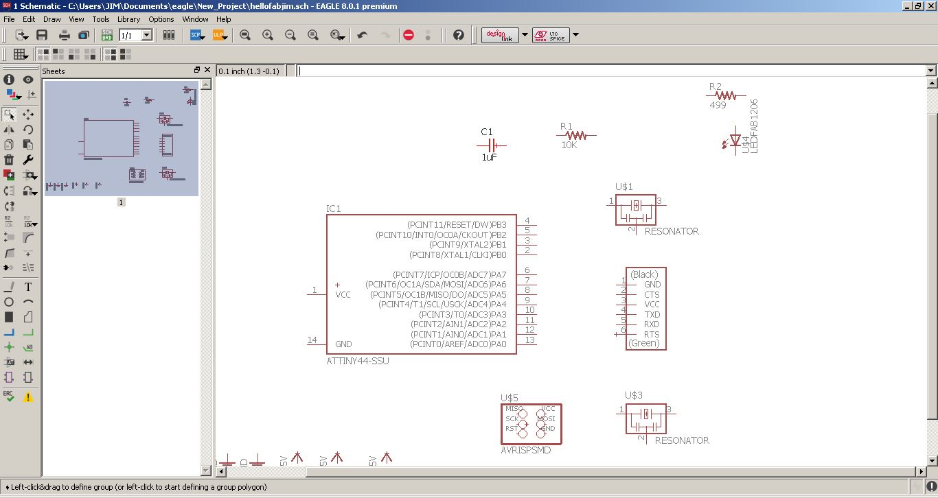 Fab Academy 2017 Jim Seelan Your Own Multisim Like Circuit Design And Simulation Application The Parts Are Added One By On A New Eagle Schematics