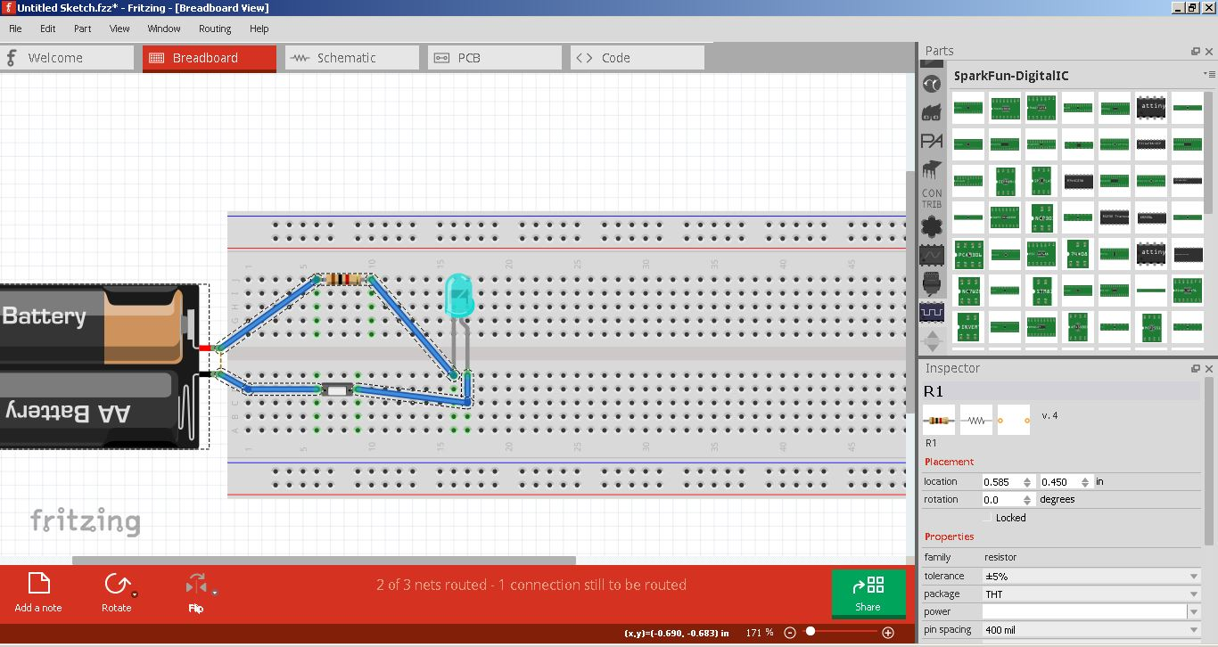 Fab Academy 2017 Jim Seelan Led Characteristics Public Circuit Online Simulator A Simple Layout On Breadboard Using Fritzing