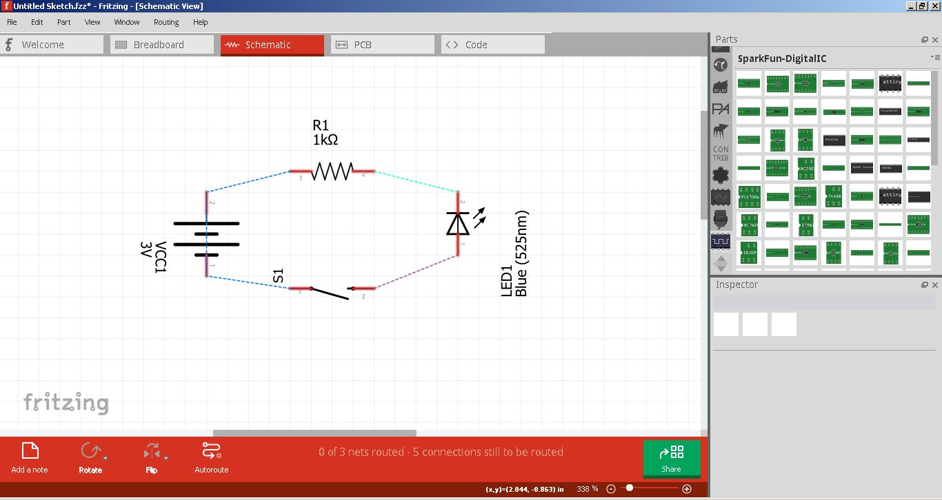 Fab Academy 2017 Jim Seelan For Pcb Design Including Schematic Capture Board Layout And Autorouter A Simple Schematics Created Using Fritzing