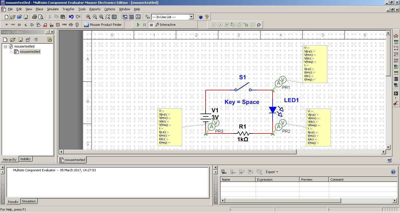 Fab Academy 2017 Jim Seelan Online Simulation Tool Easyeda Electronic Circuit Design A Simple Schematic Created Using Multisim Probes Added For In