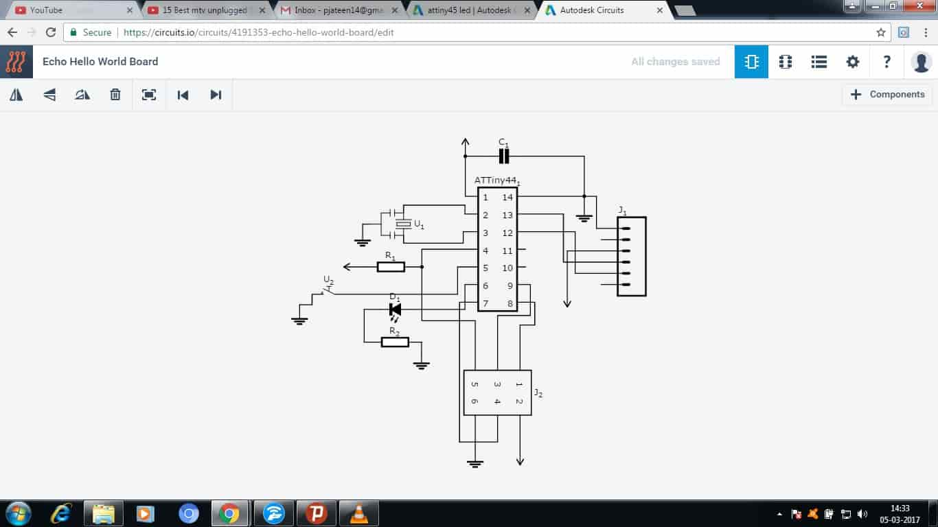 Jatin Parmar Designing Led Circuit So Finally With All The Ease Of This Software I Was Able To Make First Schematic View