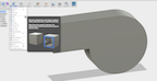 how to add ramp to extruded half circle fusion 360