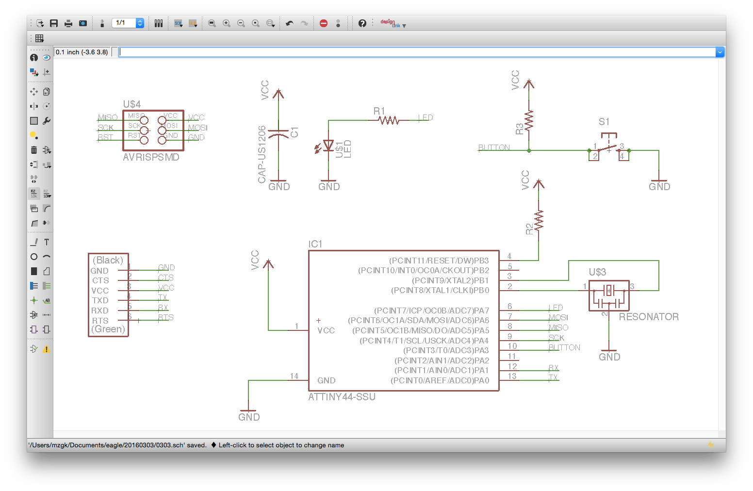 Fab Academy 2016 Report Shunichi Mizugaki Here Are The Eagle Designs For Circuit Board First We Install Which Is Open Source Software Designing Using Drew Schematic Of Echo Hello World As Below