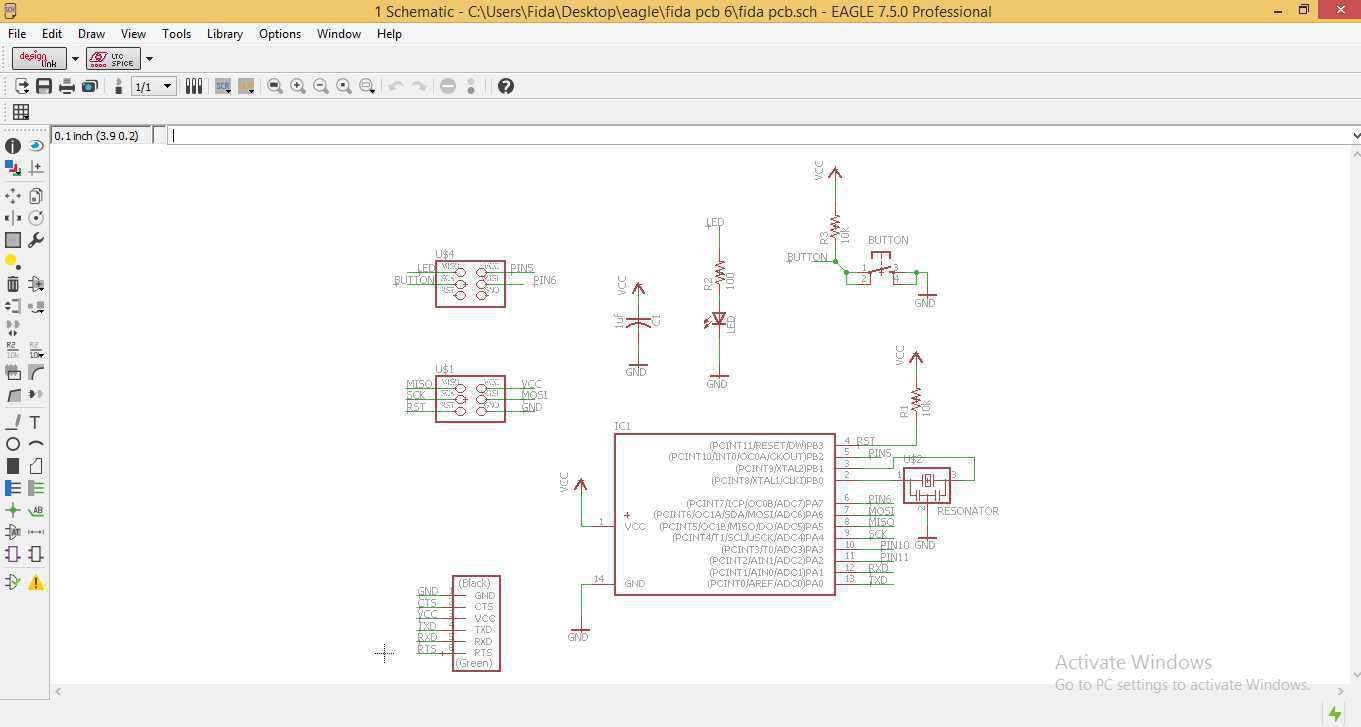 Fab Lab Project Figure 2 Schematic View In Eagle Pcb Software After Getting The Ready We Are Supposed To Check Erc Ie Electrical Rule Characteristics Here I Got Zero Errors But Few Warnings And