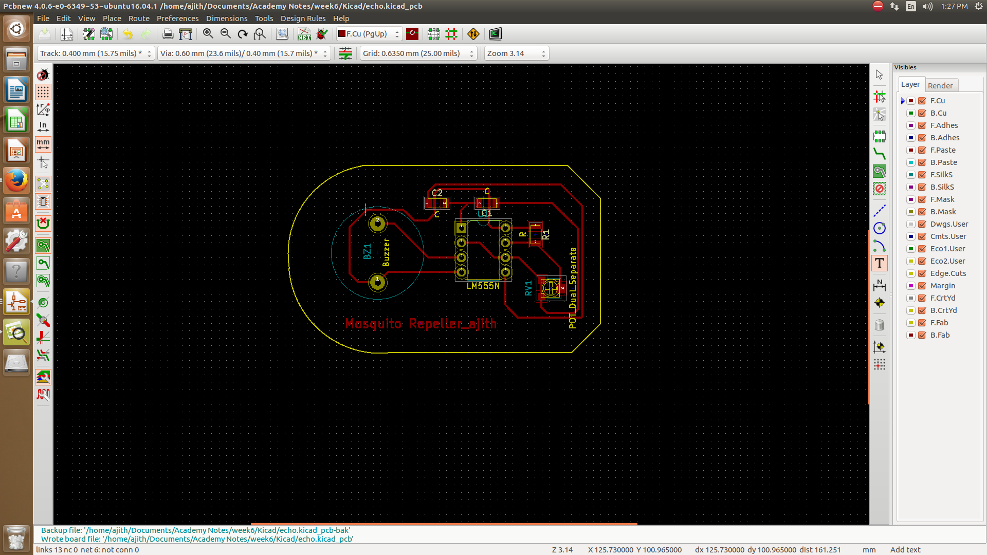 20 Pc Copper Clad Laminate Circuit Boards Fr2 Pcb Single Side Ajiths Fab Diary 2017 One Of The Main Intersting Thing In This Software Is That We Can Vie 3d I Used Viewer Option Available Kicad Below Showed